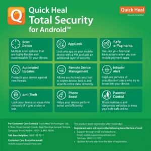 Quick Heal 1 Device 1 Year Mobile Security for Android (Email Delivery – No CD)  (Standard Edition) TechSode